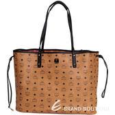 MCM VISETOS 經典圖騰雙面設計購物包-大(附萬用包/棕色) 1620955-92