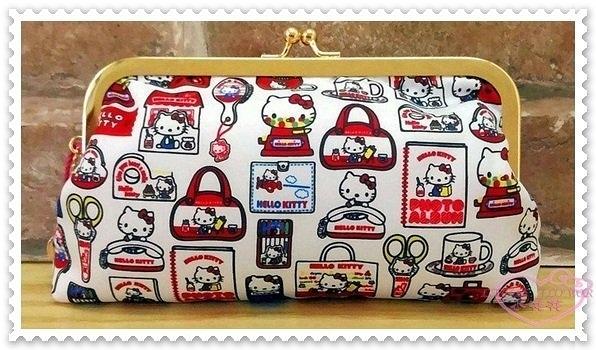 ♥小花花日本精品♥ Hello Kitty 絲緞面珠扣 手拿包 收納包 化妝包 小物包 滿版圖 經典款 42215707