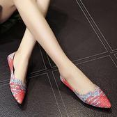 尖頭鞋 尖頭平底鞋女單鞋平跟淺口四季鞋簡約拼色女鞋    琉璃美衣