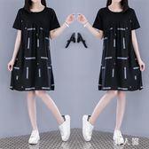 中大尺碼 洋裝新款娃娃裙子寬鬆休閒大碼顯瘦a字棉麻拼接洋裝 zm3816『男人範』