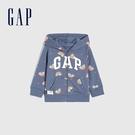 Gap女幼童 碳素軟磨系列法式圈織 Logo童趣連帽外套 964000-彩虹圖案