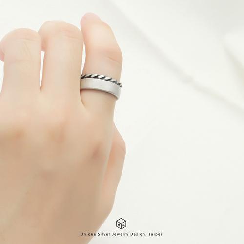 5mm霧面質感戒-銀+粗線戒-雙件組 純銀戒指
