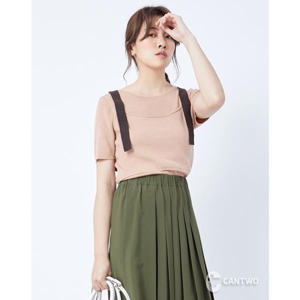 【南紡購物中心】CANTWO假兩件撞色肩帶針織上衣-二色
