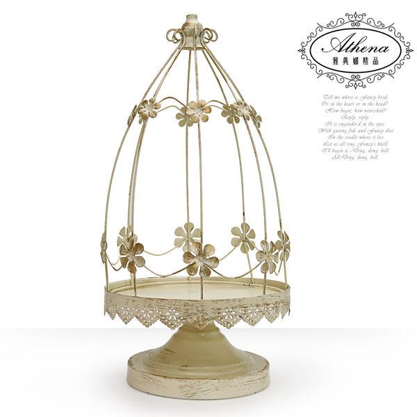 【雅典娜家飾】仿古花之鳥籠造型高腳燭台-GN33
