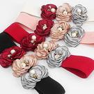 絲綢玫瑰花朵珍珠彈力腰封腰帶~美之札