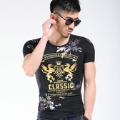 短袖T恤男 韓版潮流 休閒上衣 夏季歐美風燙金印花短袖T恤圓領修身半袖體恤wx3421