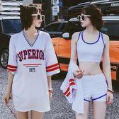分體泳衣女三件套運動比基尼學生小胸保守平角遮肚韓國溫泉小香風      芊惠衣屋