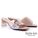 Keeley Ann我的日常生活 炫彩光澤透明粗跟拖鞋(粉紅色) -Ann系列