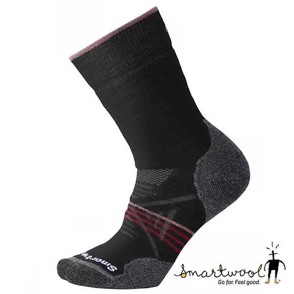 Smartwool 女PhD戶外中級減震中長襪『黑/酒紅』SW001064 美國製|保暖襪|登山襪|運動襪