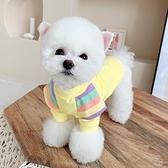 彩虹飛袖純棉打底寵物狗狗衣服秋冬貓咪小型犬泰迪雪納瑞比熊衣服 pinkq時尚女裝