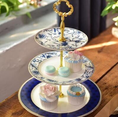 【時尚麥包精品館】歐式雙層水果盤客廳創意三層蛋糕架甜品乾果糖盤下午茶陶瓷點心盤