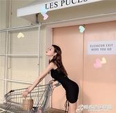復古性感抽繩吊帶包臀連身裙女夏季新款韓版修身顯瘦氣質短裙 雙十二全館免運
