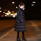 2017冬季新款韓國中長款長過膝盤扣復古中國風黑色羽絨服女韓版潮
