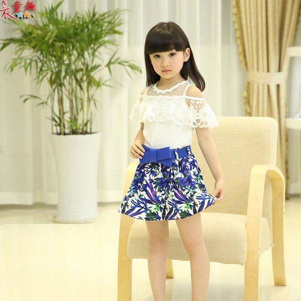 衣童趣 ♥中大女童甜美 蕾絲一字領蕾絲上衣+花花蝴蝶結短裙 氣質款套裝