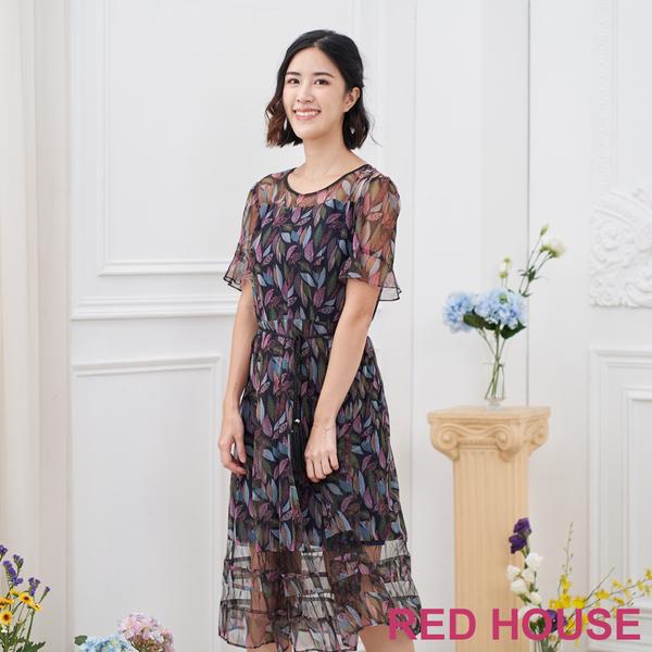 【RED HOUSE 蕾赫斯】印花透膚洋裝