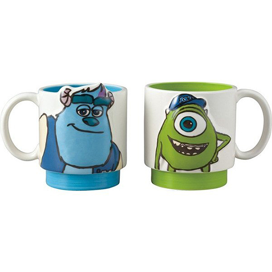 小禮堂 迪士尼 怪獸大學 陶瓷馬克杯組 咖啡杯 陶瓷杯 情侶對杯 265ml (2入 綠藍 大臉) 4942423-24495
