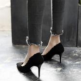 正韓秋尖頭高跟鞋女細跟中跟百搭單鞋性感黑色女鞋職業新款春