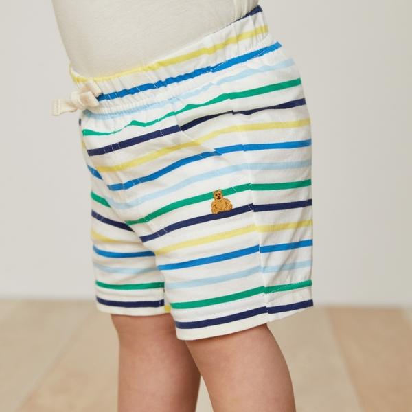 Gap嬰兒 布萊納小熊刺繡條紋短褲 寶寶褲子純棉休閒褲442238-光感亮白