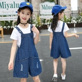 女童夏裝吊帶褲2020新款韓版中大童牛仔吊帶套裝兒童闊腿連體短褲 童趣
