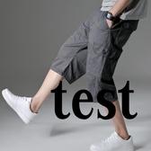夏薄七分褲男寬鬆休閒工裝短褲男大尺碼七分褲加肥加大中褲多袋潮