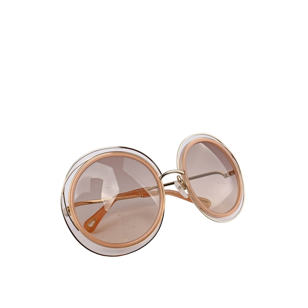 【CHLOE】粉膚圓框/淺棕鏡片 墨鏡 CL46000001