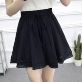 雪紡褲裙 韓國夏裝純色百褶雪紡裙褲女學生鬆緊腰寬鬆大碼闊腿短褲 降價兩天