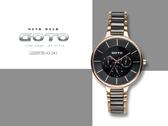 【時間道】GOTO 都會中性錶徑三眼陶瓷腕錶 /黑面黑陶半玫瑰金帶(GS0097B-43-341)免運費