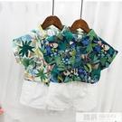 兒童短袖花襯衫男孩夏季新款男童洋氣休閒襯衣小寶寶韓版套裝 韓慕精品