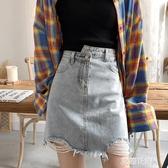 韓版高腰a字牛仔短裙女2020夏季薄款寬鬆包臀半身裙復古破洞『艾麗花園』