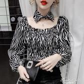 2020秋季短款豹紋襯衫女設計感小眾修身氣質木耳邊褶皺方領上衣潮 果果輕時尚
