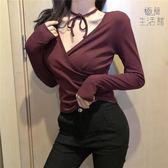 上衣女裝2019春裝新款韓版性感V領交叉長袖T恤修身領口綁帶【極簡生活館】