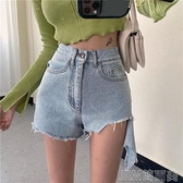 剪破毛邊牛仔短褲女夏季新款復古高腰直筒顯瘦寬鬆闊腿熱褲子 快速出貨