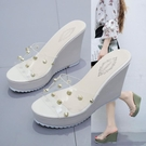 2021夏季新款網紅拖鞋子時尚坡跟高跟防水臺一字拖女厚底涼拖鞋女
