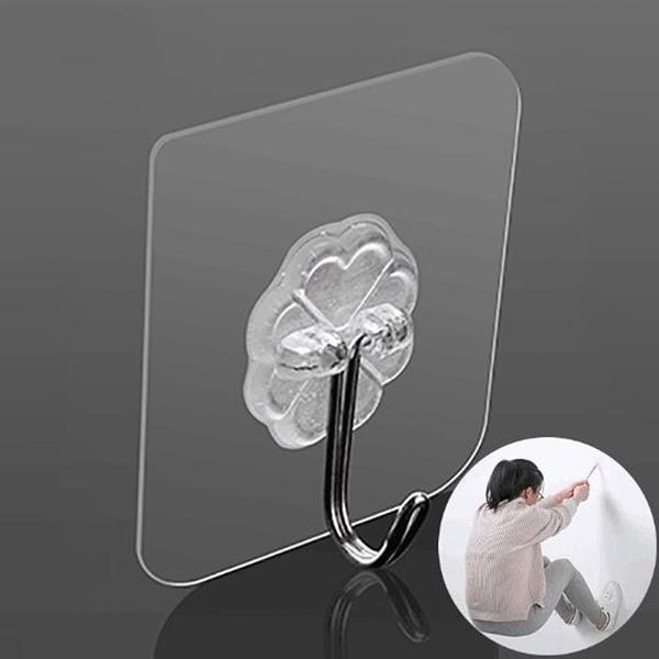 透明黏貼式強力掛勾 免釘免鑽孔 多用途掛勾 可重複使用