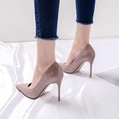 高跟鞋新款高跟鞋女細跟百搭尖頭裸色少女法式網紅學生韓版夏款單鞋 小天使