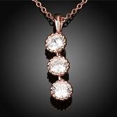 項鍊 玫瑰金純銀 鑲鑽吊墜-三顆鑽生日情人節禮物女飾品2色73br77【時尚巴黎】