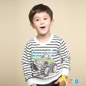 Azio 男童 上衣 吉普車英文字母印花長袖條紋T恤(白) Azio Kids 美國派 童裝