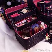 化妝盒大容量多層化妝包女便攜旅行手提收納化妝箱護膚品紋繡 蘿莉小腳丫