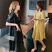 漂亮小媽咪 泡泡袖 V領 洋裝【D8217】 韓系 皺褶 泡泡短袖 純色 洋裝  連衣裙
