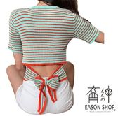 EASON SHOP(GW2902)實拍撞色橫條紋短版露肚臍後背蝴蝶結綁繩鏤空圓領針織衫女上衣服內搭衫閨蜜裝