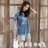 情侶家居服女夏韓版短袖兩件套夏天男士純棉薄可外穿家居服寬鬆 【限時特惠】