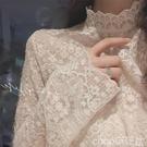熱賣蕾絲打底衫 蕾絲打底衫女2021秋冬新款小衫高領洋氣內搭加絨長袖百搭網紗上衣【618 狂歡】