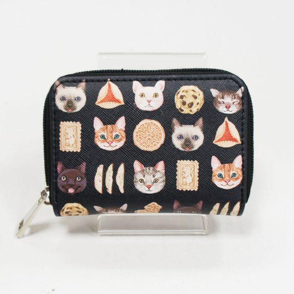 貓咪V.S.餅乾童趣十字紋長方拉鍊零錢包/悠遊卡片包 - Ashley. M 愛雪莉 黑色 禮物 現貨販售