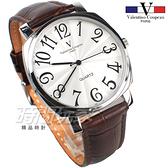 valentino coupeau范倫鐵諾 方圓數字時尚錶 防水手錶 真皮 咖啡 男錶 V61601W咖大