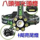 【JIS】M019 八頭強光頭燈 T6 附二電池 強光燈 電池盒爆閃COB 變焦 凸鏡 T6 夜釣 登山 露營 朔溪
