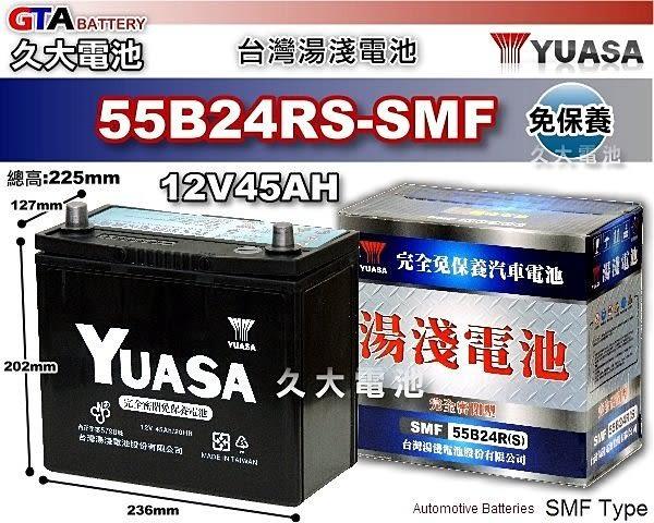 ✚久大電池❚ YUASA 湯淺 電池 55B24RS 免保養 汽車電瓶 2009年9月前WISH 2.0 (第一代)