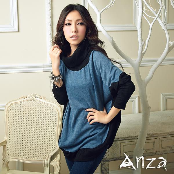 【AnZa】鬆糕領黑邊拼接長版衣(二色)