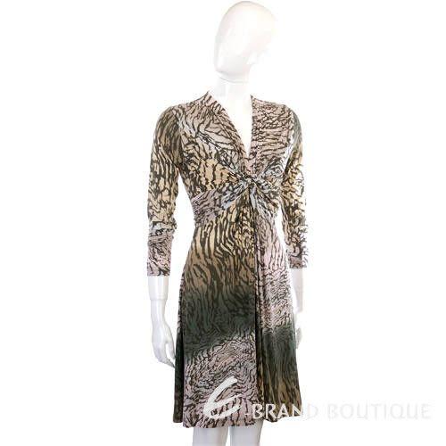 ALLUDE 粉/綠色漸層豹紋抓摺設計長袖洋裝 1210520-08
