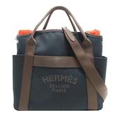 HERMES 愛馬仕 Sac De Pansage Groom 海軍藍帆布手提肩背購物包(附內袋) D刻