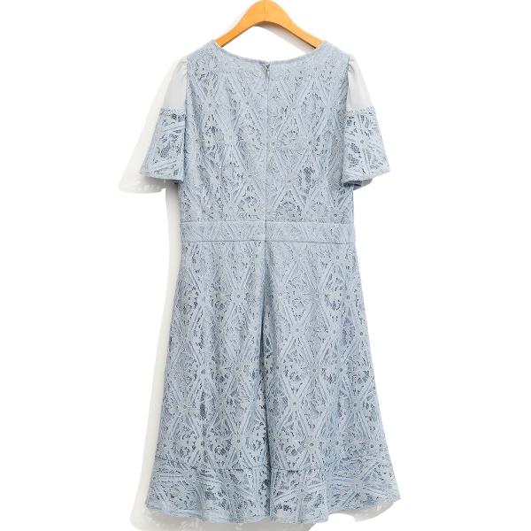 早春[H2O]雪紡拼接蕾絲中長版洋裝 - 粉/淺藍色 #1674007